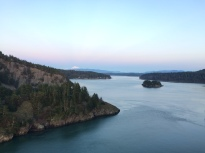 The view of Mount Vernon from the Deception Pass Bridge after sunset.