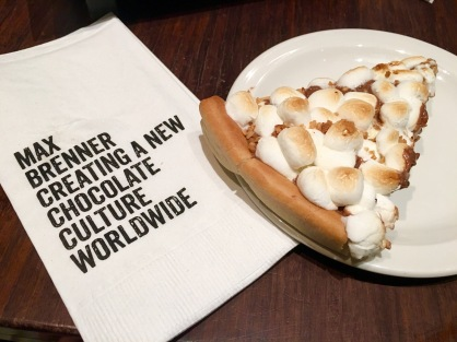 "Okay, so nobody can resist a pizza. But what about a chocolate ""pizza"" covered with s'mores and roasted hazel nuts? Yes? Thought as much."